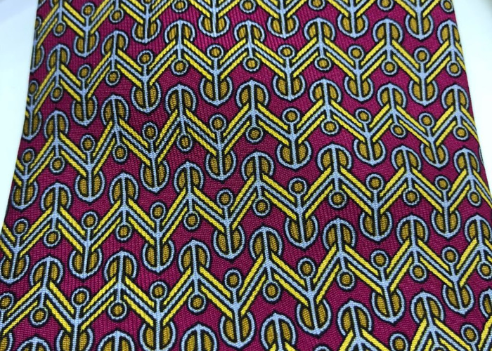 HERMÈS TIE: Yellow, maroon, gold & ivory geometric pattern - 1