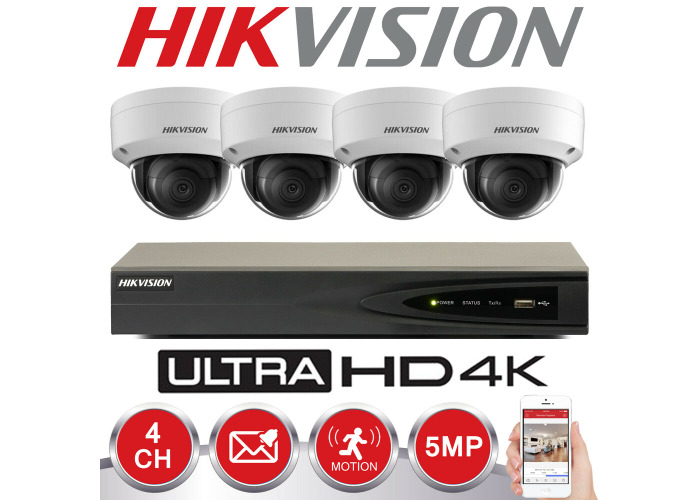 HIKVISION 5MP IP POE SYSTEM 4K UHD 4CH CHANNEL NVR CCTV DOME CAMERA SECURITY KIT - 1