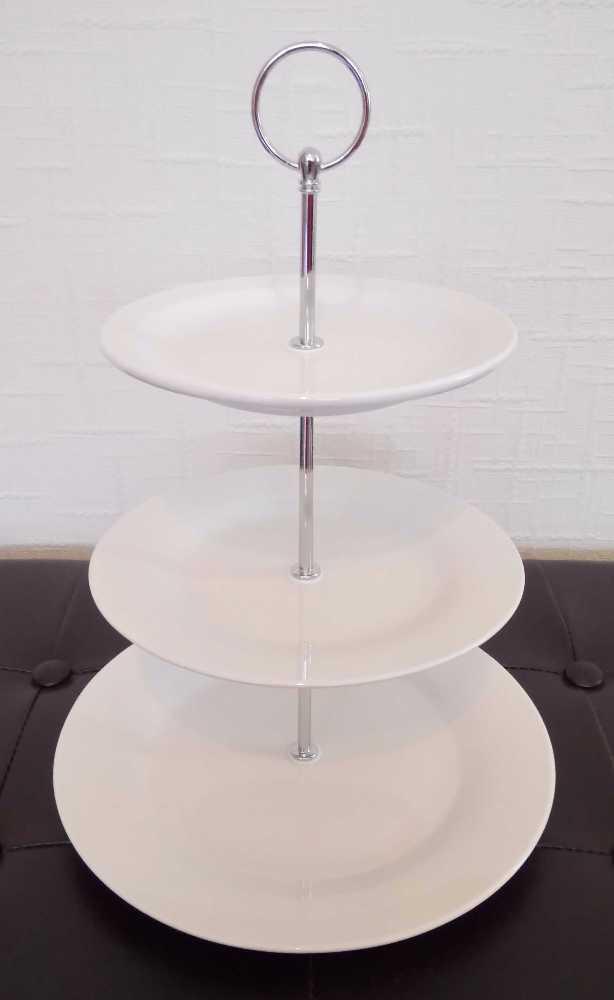 Hire of 40 x white ceramic three tier cake stands - 1