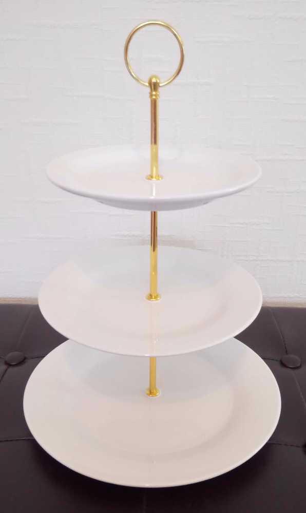 Hire of 40 x white ceramic three tier cake stands - 2