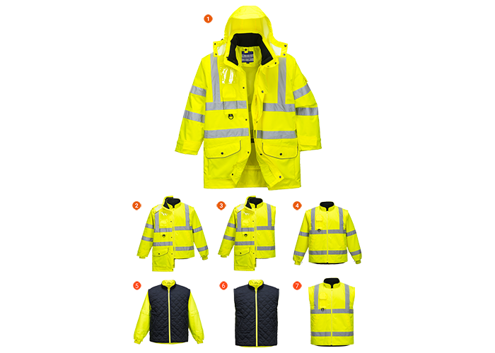 Hi-Vis 7-in-1 Jacket  Yellow  XSmall  R - 1