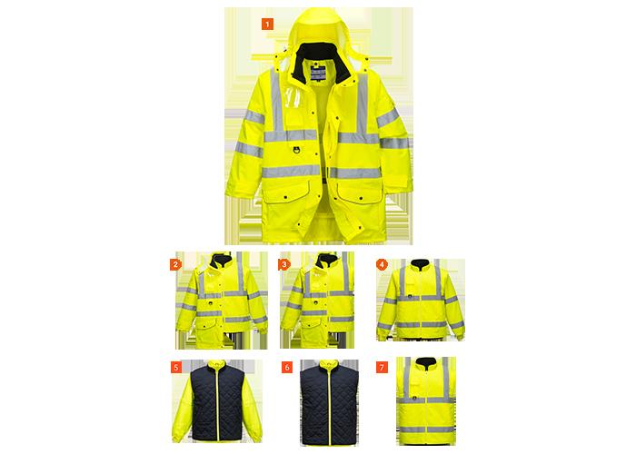 Hi-Vis 7-in-1 Jacket  Yellow  XXL  R - 1