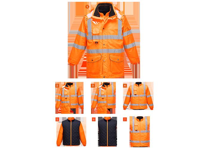 Hi-Vis 7-in-1 Jacket RIS  Orange  Large  R - 1