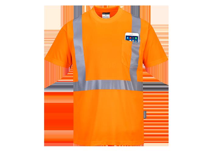 Hi-Vis Pocket T-Shirt  Orange  5XL  R - 1