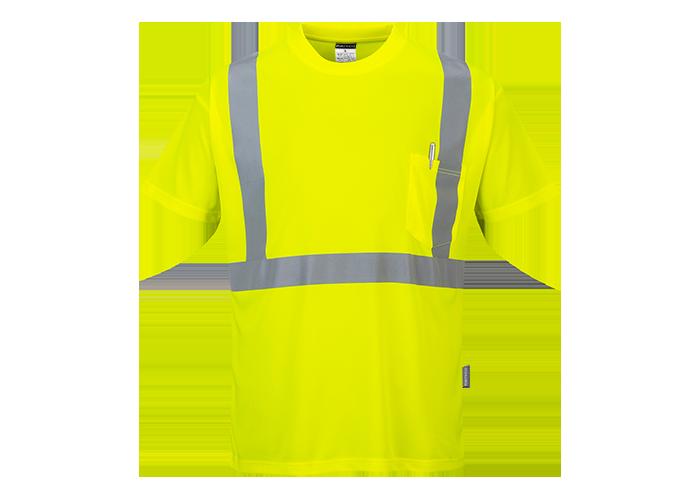 Hi-Vis Pocket T-Shirt  Yellow  Small  R - 1