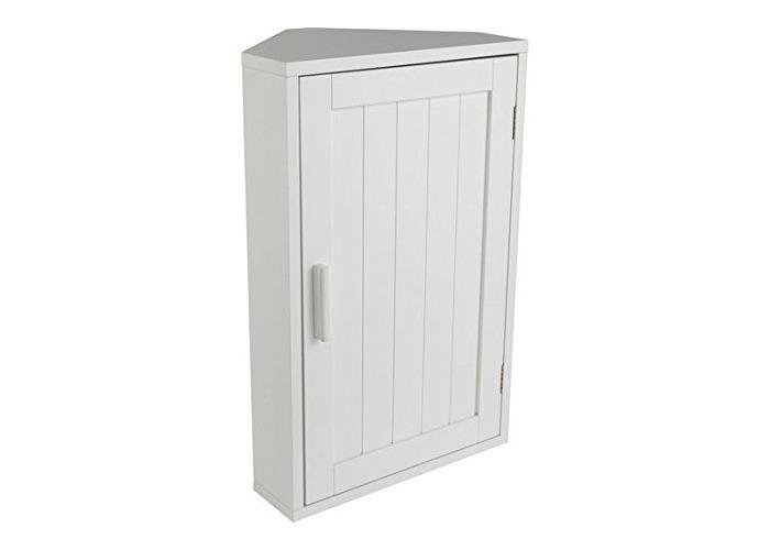 HOME Wooden Corner Bathroom Cabinet - White - 1