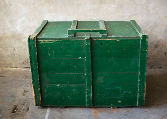 Huge Wooden Trunk Grain Storage Box Container Side Table 1