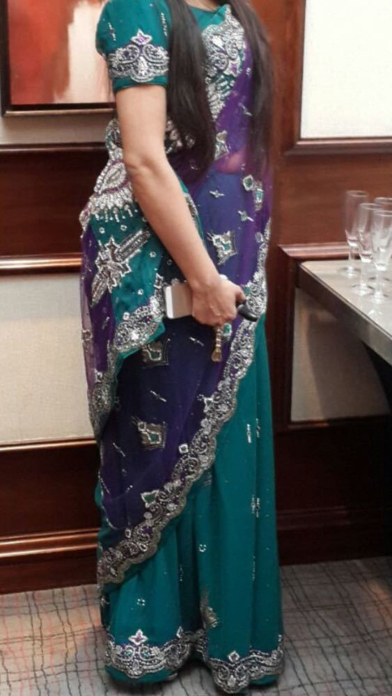 Purple and Teal Indian Asian Saree - 2