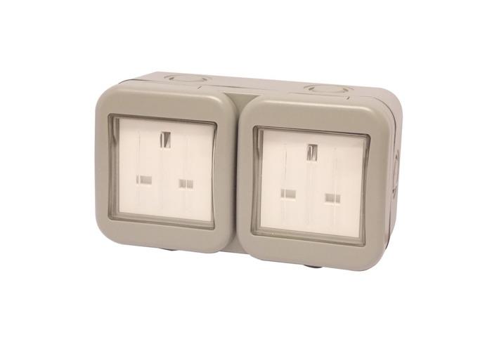 IP55 Weatherproof 13A Double Plug Socket, Un-switched, Grey - 1