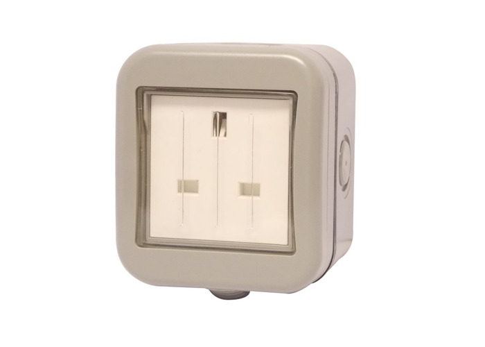 IP55 Weatherproof 13A Single Plug Socket, Un-switched, Grey - 1