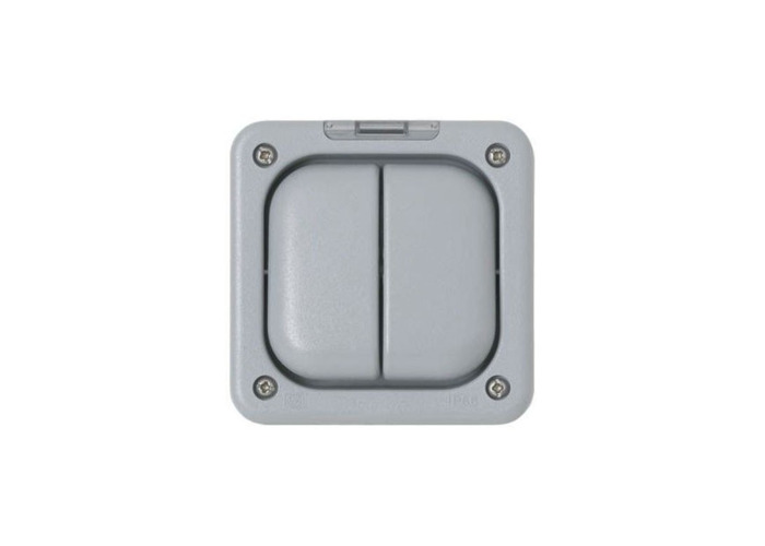 IP66 Masterseal Plus 10A Double One Way Rocker Switch, Grey - 1