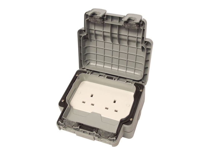IP66 Masterseal Plus 13A Double Plug Socket, Un-Switched, Grey - 1