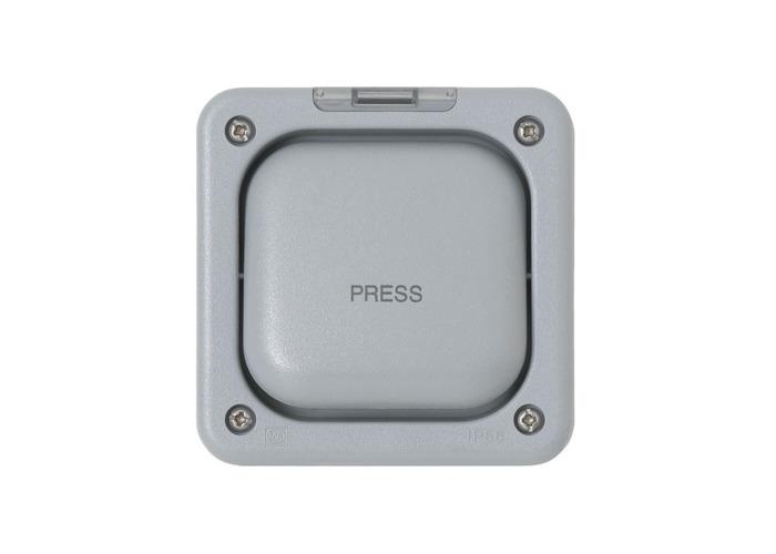 IP66 Masterseal Plus 20A Single One Way Rocker Switch, Grey - 1