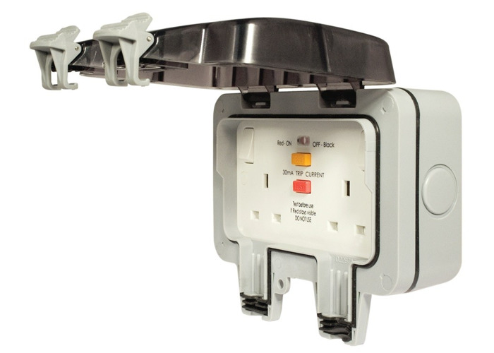 IP66 Weatherproof 13A Double Plug Socket, With RCD Switched Protection, Grey - 1