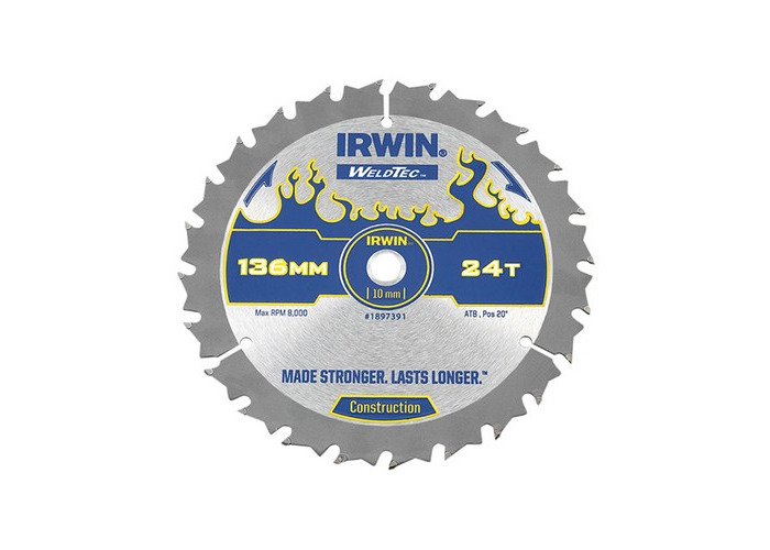Irwin 1897391 Weldtec Cordless Circular Saw Blade 136 x 10mm x 24T ATB C - 1