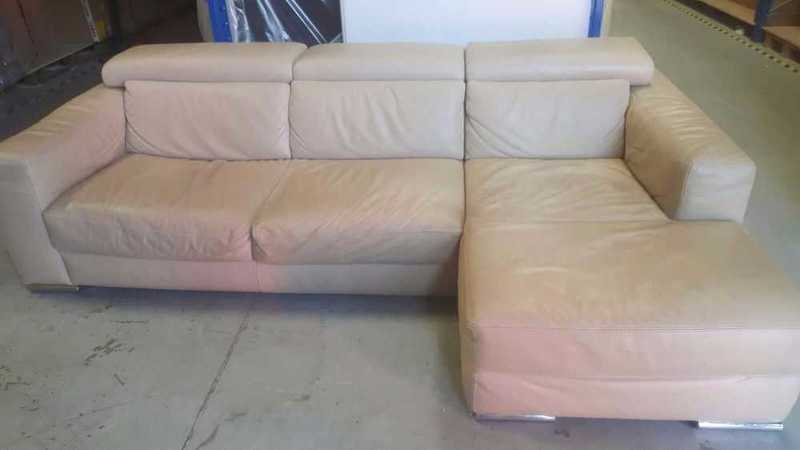Italian Designer Leather Sofa With Adjustable Headrests  - 1