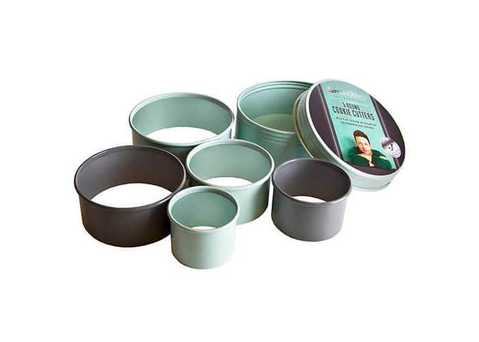 Jamie Oliver JB3800 Bakeware Range Round Cookie Cutters - Stainless Steel, Harbour Blue, Set of 5 - 1