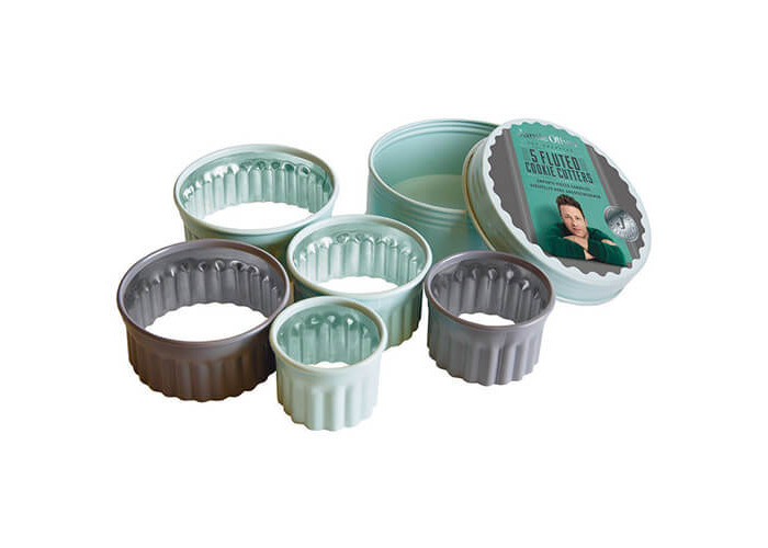 Jamie Oliver JB3810 Bakeware Range Fluted Round Cookie Cutters - Stainless Steel, Harbour Blue, Set of 5 - 1