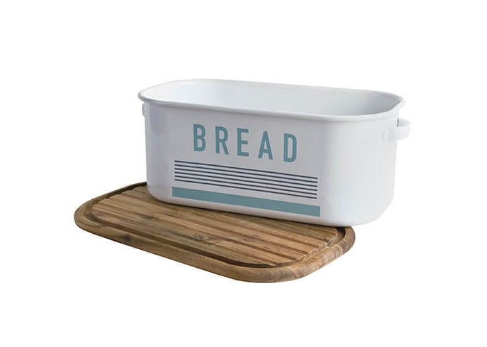 Jamie Oliver Vintage Bread Bin with Acacia Wood Chopping Board Lid, Harbour Blue - 2