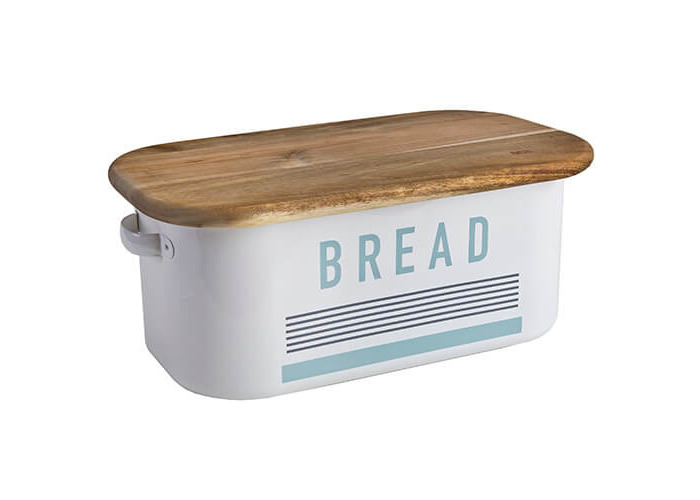Jamie Oliver Vintage Bread Bin with Acacia Wood Chopping Board Lid, Harbour Blue - 1