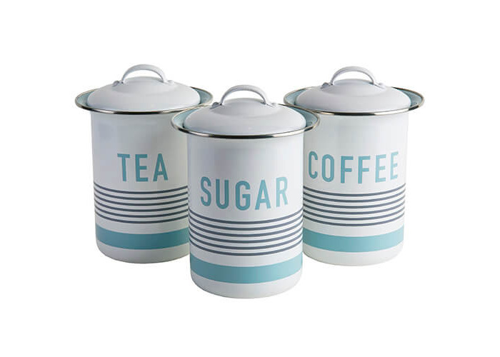Jamie Oliver Vintage Tea/Coffee and Sugar Tins/Canisters Set, Harbour Blue - 1