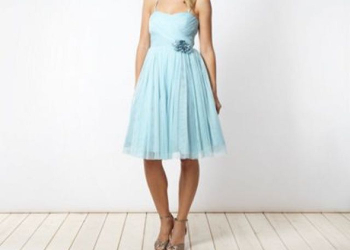 Jenny Packham Pale Blue Mesh Corsage Bridesmaid Dress - 2