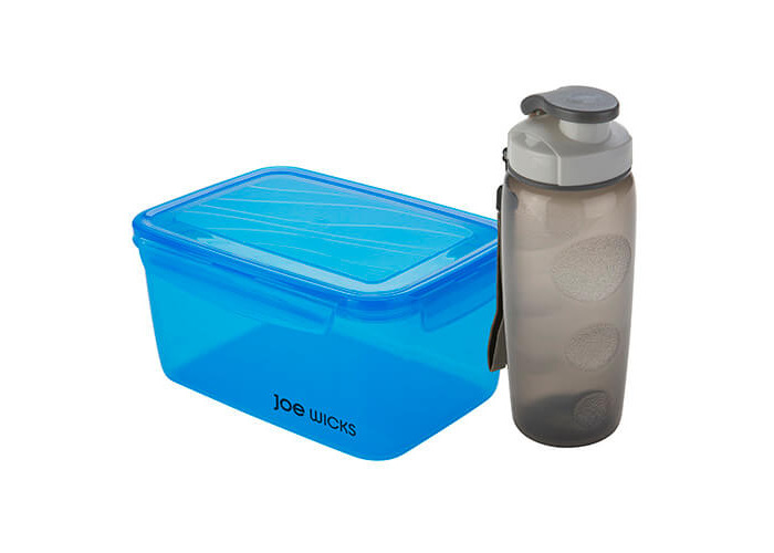 Joe Wicks Storage - 2 Piece Lunch Box Set 2400ml container & 500ml Bottle Blue - 1