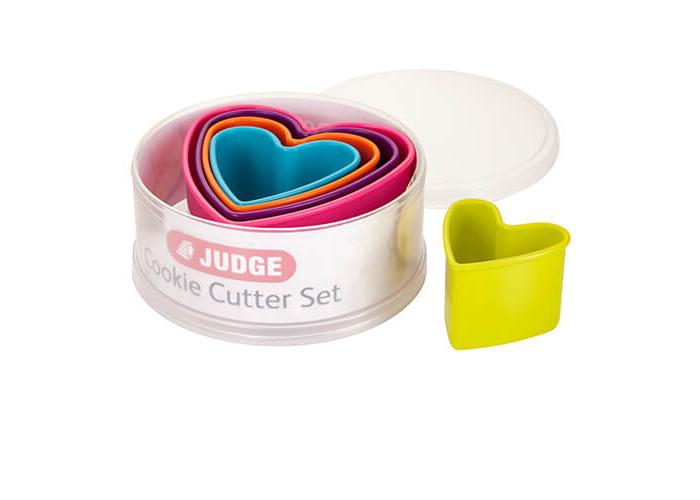 Judge Coloured Cookie Cutter, Hearts, Pink/Purple/Orange/Blue/Green, 5-Piece - 1