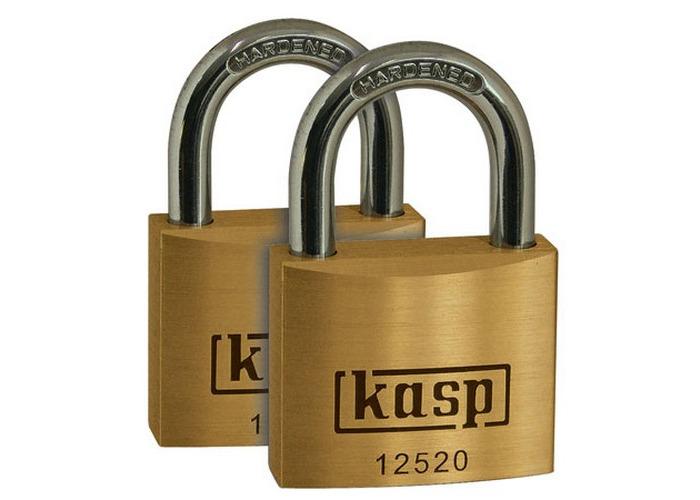 Kasp K12520D2 Premium Brass Padlock 20mm Twin Pack - 1