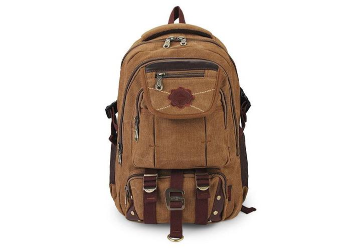 KAUKKO Rivets Zipper Men Backpack Travel Bags Canvas Outdoor Luggage Bag - 1