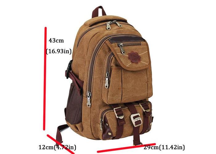 KAUKKO Rivets Zipper Men Backpack Travel Bags Canvas Outdoor Luggage Bag - 2