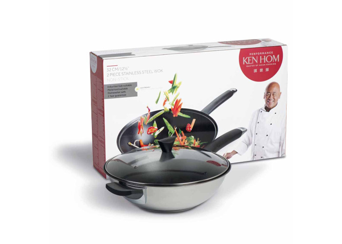 Ken Hom KH232022 Performance Range Wok Set With Lid, 2-Piece Set - Stainless Steel - 1