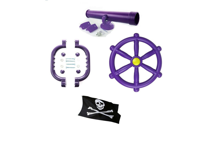 Kids Climbing Frame Accessory Purple Toy Bundle With a FREE Pirate Flag  - 1