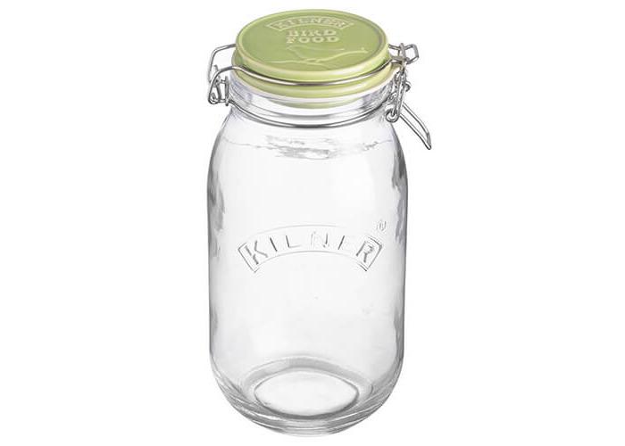Kilner 2 litre Glass Clip Top Bird Food Jar with Ceramic Lid, 13.5 x 12.5 x 25.5 cm - 1