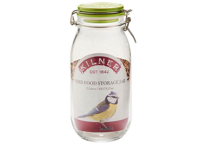 Kilner 2 litre Glass Clip Top Bird Food Jar with Ceramic Lid, 13.5 x 12.5 x 25.5 cm - 2