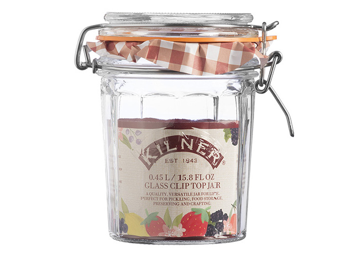 Kilner Facetted Clip Top Jar, Clear, 0.45 Litre - 2