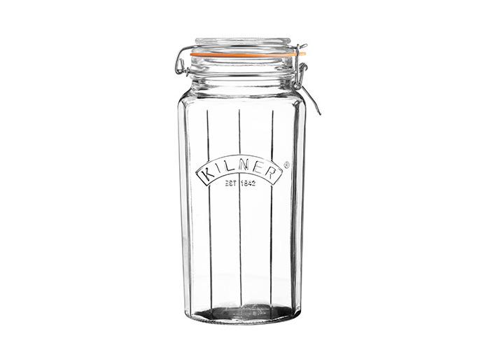 Kilner Facetted Clip Top Jar, Clear, 1.8 Litre - 1