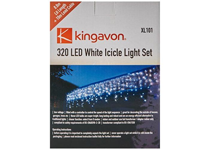 Kingavon 320 LED Icicle Light Set - Green - 1