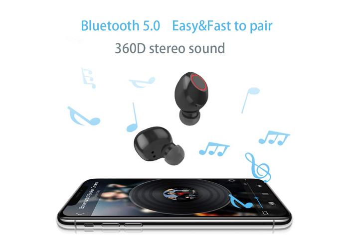 Kinym Mini Bluetooth headphones true wireless earbud Noise Cancelling in ear Mic - 1