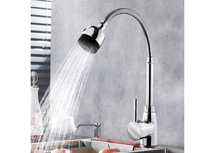 Kitchen Bathroom Spout Faucet 360° Rotate Pull out Sprayer Hot Cold Water Mixer Tap - 2