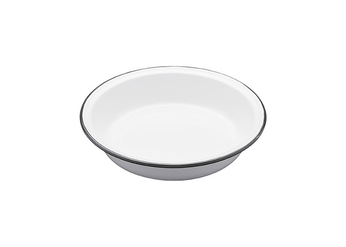 Kitchen Craft 22.5 x 4 cm Living Nostalgia Enamel Round Pie Dish, White/Grey - 1