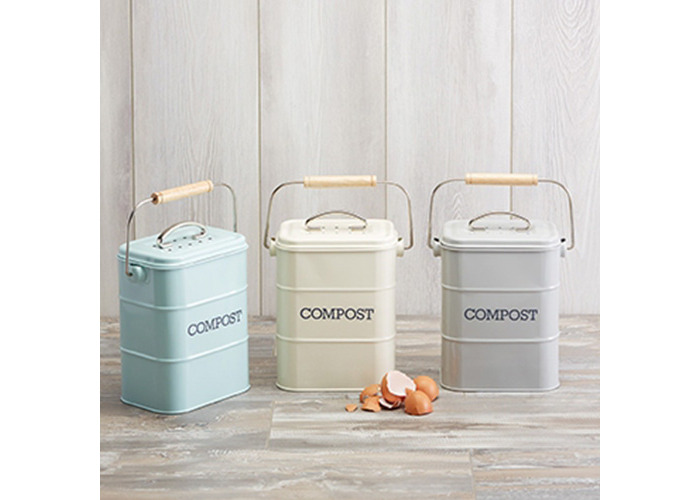 Kitchen Craft 3 Litre Living Nostalgia Steel Compost Bin, Vintage Blue - 2