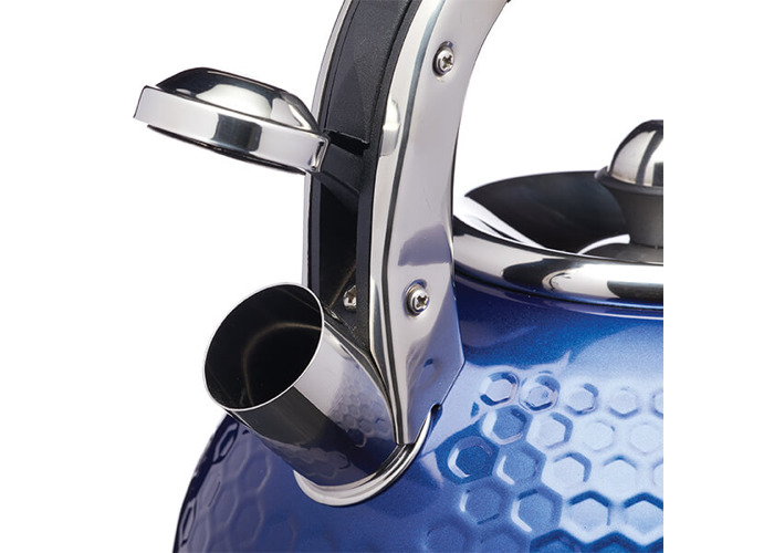 Kitchen Craft Lovello Induction Stovetop Whistling Kettle, Stainless Steel, Blue, 2.5 L - 2