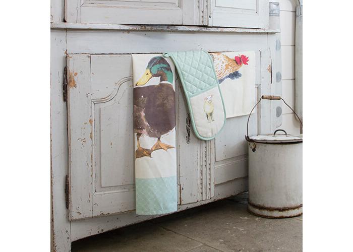 "KitchenCraft 100% Cotton 'Farmyard Animals' Printed Double Oven Gloves, 86 x 18 cm (34"" x 7"") – Cream / Sage Green - 2"
