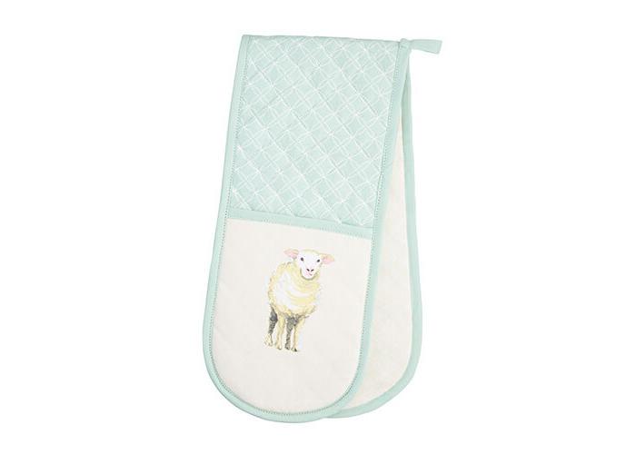 "KitchenCraft 100% Cotton 'Farmyard Animals' Printed Double Oven Gloves, 86 x 18 cm (34"" x 7"") – Cream / Sage Green - 1"