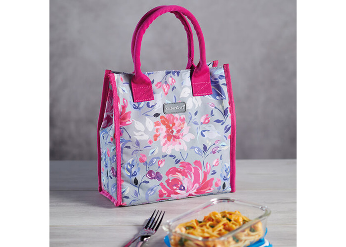 KitchenCraft 4L Grey Floral Lunch And Snack Cool Bag - 2