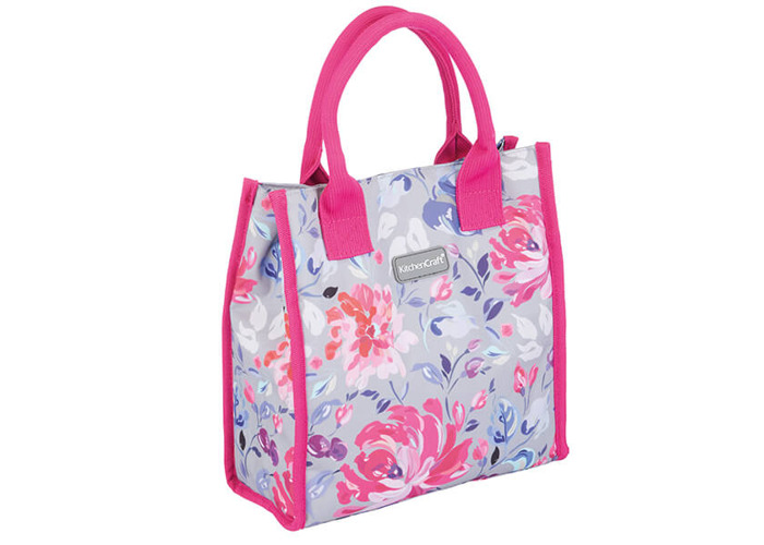 KitchenCraft 4L Grey Floral Lunch And Snack Cool Bag - 1