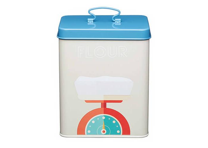 "KitchenCraft Art Deco-Style Carbon Steel Airtight Flour Storage Container, 16 x 11.5 x 20 cm (6.5"" x 4.5"" x 8"") - Multi-Colour - 1"