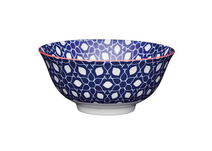 KitchenCraft Blue Floral Geometric Print 15.7cm Ceramic Bowl - 1