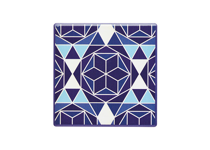 "KitchenCraft 'Blue Geo' Tile-Style Ceramic Drinks Coaster with Cork Back, 9.5 cm (3.5"") - Blue - 1"